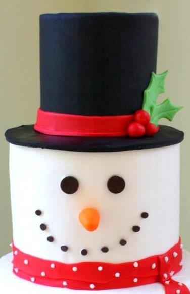 Christmas Snowman Sponge Cake